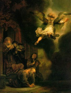 REMBRANDT Harmenszoon van Rijn, The Archangel Gabriel Leaving the Family of Tobias, 1637, Oil on wood,2 66 x 52 cm, Musée du Louvre, Paris
