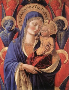 GOZZOLI, Benozzo, Madonna and Child among Seraphim and Cherubim, c. 1460, tempera on panel, 84.4 x 50.6 cm, Institute of Arts, Detroit