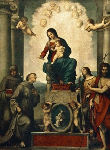 CORREGGIO, Madonna with St. Francis, 1514, Oil on wood, 299 x 245 cm, Gemäldegalerie, Dresden