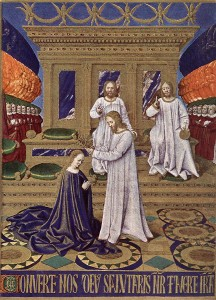 FOUQUET, Jean, The Coronation of the Virgin, 1452-60, Illumination Musée Condé, Chantilly