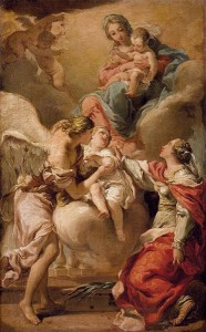 GANDOLFI, Gaetano, St Giustina and the Guardian Angel Commending the Soul of an Infant to the Madonna and Child