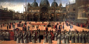 BELLINI, Gentile, Procession in Piazza S. Marco, 1496, Tempera and oil on canvas, 367 x 745 cm, Gallerie dell'Accademia, Venice