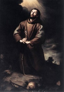 MURILLO, Bartolomé Esteban, St Francis of Assisi at Prayer, 1645-50,Oil on canvas, 182 x 129 cm, O.-L. Vrouwekathedraal, Antwerp